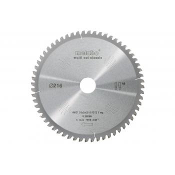 Пильный диск METABO HW/CT 216x30, 60 FZ/TZ 5 - Multi Cut Classic (628066000)